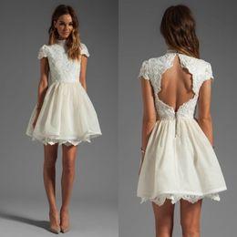 Wholesale Silver Short Wedding Dresses - Short Wedding Dresses 2015 High Neck Appliqued Backless Mini Organza Bridal Gowns Fashion Short Party Graduation Gowns Custom made