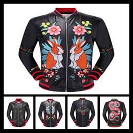 Wholesale Hand Painted Love - 2017 Luxury Brand Faux Leather Coat Front Flower Love Birds Embroidery Back Two Tragon UFO Loved Mbroidery Very Nice Looking Jacket