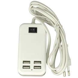 Wholesale Ipad Power Adapter Cable - 15W 4 ports USB Wall Charger US UK plug HUB with Switch 1.5m Cable AC power adapter For iphone 6s Samsung S7 iPad HTC Smart Phone