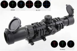 atrações combo Desconto Aimsports Scope 1.5-4X30 Tri-Iluminado Mil Dot Retículo ou Flecha ou 3/4 de Âmbito de Círculo com Torres de Travamento