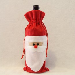 Wholesale Wine Bottle Gift Bag Santa - 20Pcs Lot Christmas Gift Dinner Table Decoration Red Wine Bottle Cover Bag Home Party Decors Santa Claus Bottle Bags 13*32cm Free Shipping