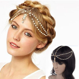 Wholesale Plastic White Hair Band - 1PC Chic Boho Women Pearl Gold Wedding Headdress Headband Head Band Crown Chain Headpiece Layers Hair Chain Jewelry Drop Free