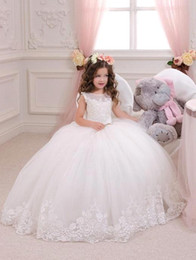 Wholesale Tulle Ball Gown Bridesmaid - Lovely Princess Flower Girl Dresses Ball Gowns 2016 Vintage Lace Jewel Neck Junior Bridesmaid Gowns Floor Length Child Pageant Dress BA1484