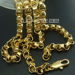Wholesale 18k solid yellow gold - 18k yellow gold GF curb rings link solid mens women long necklace N247