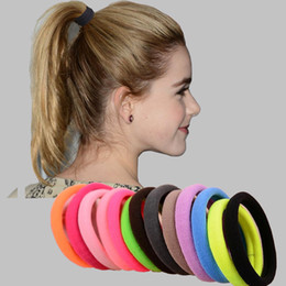 Wholesale Candy Colored - 100Pcs Lot Hair Ornaments Big Size Candy Colored Quality Elastic Ponytail Holders Accessories Girl Women Hair Rubber Bands Tie Gum