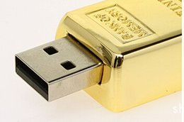 Wholesale Digital Camera Drive - Gold bar 64GB 128GB 256GB USB Flash Drive Metal case Pendrive thumb drive for digital camera for tablet PC for smartphones