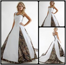 Wholesale Cheap Camouflage Sexy Dresses - 2016 New Arrival Camo Wedding Dress Lace Straps Criss Cross White Camouflage Ball Gown Bridal Dress Chapel Train Custom Made Cheap