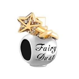 Wholesale wholesale fairy dust - 10pcs per lot Golden star fairy dust bottle bead European spacer charm fit Pandora Chamilia Biagi bracelet