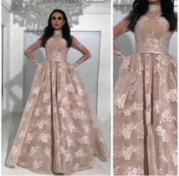 Wholesale Navy Belt Dress - 2018 Arabic Ball Gown Prom Dresses High Neck Long Sleeves Appliqued Nude Evening Gowns with Belts Sheer Pageant Dresses