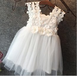 Wholesale Kids Sun Dresses - 2016 Summer 3D Flowers Crochet Dresses Girls Lace Sleeveless Sun Dress Kids Tutu Dress Party Dress free shipping K6543