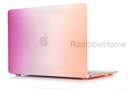 Wholesale Macbook Air Rubberized - Rainbow Gradient Color Matte Rubberized Case Cover Protector for Macbook Air Pro Retina 11 12 13 15 inch Laptop Crystal Plastic Cases