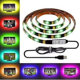 Wholesale 12v Light Strips - DIY 5050 RGB LED Strip Waterproof DC 5V USB LED Light Strips Flexible Tape 50CM 1M 2M 3M 4M 5M add Remote For TV Background