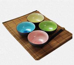 Wholesale Porcelain Soup Bowls - Mix Color Crack Glaze Japanese Bowl Set of 4 Quality 4.5 inch Ceramic Rice Soup Bowls Asian Lifestyle Tableware Gift