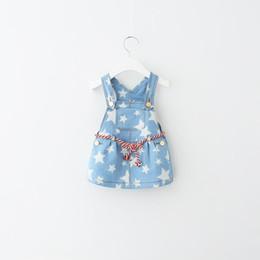 Wholesale Denim Shorts Stars - Baby Girls Dress Kids Clothing Lace Tutu Princess Dress 2016 Spring Korean Fashion Flowers Bow Dress Cute Sleeveless Star Denim Dress NN-017