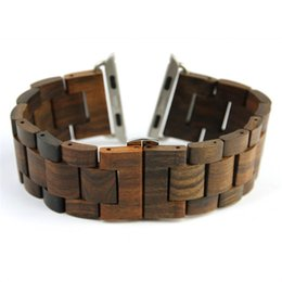 Wholesale natural wooden buttons - 100% New Retro Natural Bamboo Wood Watchbands For iWatch Wooden band with Adaptor For Apple Watch Band 38mm 42mm Series 1 2 3