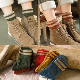 Wholesale Thick Red Wool Socks - 2016 New Wool Girls Socks Winter Thick Fashion Striped Hosiery Retro Women Boots Socks Very Cool