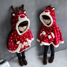 Wholesale Tweed Girl Kids Coats - Cute Deer Shape Dot Winter Kids Girls Hoodie Cloak Coat