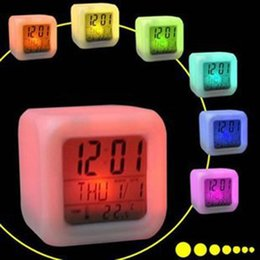 Wholesale Lcd Clock Night Light - 7 LED Colour Changing Digital LCD Alarm Clock Thermometer Date Time Night Light