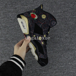 Wholesale Chinese Canvas - Free Shipping Air Retro 6 Chinese New Year shoes Mens Air Retro 6s Black and Peony Sneakers For Sale [With Box]