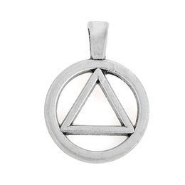Wholesale Aa Circle - 10pcs 19*26 mm zinc alloy antique silver plated AA Alcoholics Anonymous Triangle In Circle Symbol charm