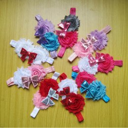 Wholesale Shabby Flowers For Headbands - New Baby Headbands For Girls Hair Accessories Shabby Flower Headbands Hair Bows 9 Colors Available Free Shipping