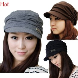 Wholesale Autumn Coffee - 2015 Quallity Fashion Womens Hat Girls Cap Travel Pleated Hat Autumn Spring Sun Hat Korean Cap Chapeau Black Coffee Grey Hot Sale 17484