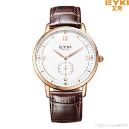 Wholesale Overfly Brand Watch - EYKI OVERFLY Luxury Brand Genuine Leather Strap Analog Date Stop Watch Quartz Watch Casual Watch relogio masculino