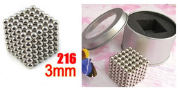 Wholesale 216 Magnets - Buckyball silver Magnetic Balls 216 ball White gift tin Magnet Cubes (20pcs lot) with box free shipping