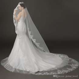 Wholesale Free Net Meter - Cheap White Wedding Veils Free Shipping Romantic Luxury Cathedral Wedding Veils Bridal Veils Long Wedding Veils Veil 3 Meter