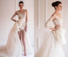 Wholesale Mini Wedding Dresses Detachable - 2016 Sexy Sheer Jewel Neckline Sheath Wedding Dresses Long Illusion Sleeves Short Mini Lace Appliques Party Dresses Detachable Bridal Gowns