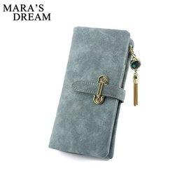 Wholesale Wholesale Suede Purses - Wholesale- Mara's Dream Women card holder female wallet luxury brand organizador women's purse clip Vintage Matte Hasp Suede pendant wallet