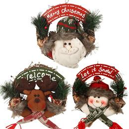 Merry Christmas Party Poinsettia Pine Wreath Porta parete Ghirlanda Capodanno Decorazioni di Natale per la casa da
