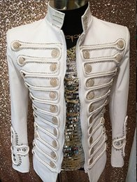 Wholesale Dj Jacket - Plus size S-4XL custom made men coat concert show simple palace male singer performanc white Bar nightclub DJ prom party costume jacket