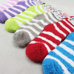 Wholesale Ladies Fashion Socks Wholesale - Thermal Socks Warm Stripe Cute Design Indoor Fuzzy Socks Fluffy Women Socks For Winter Warm Ladies