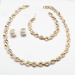 Wholesale Gold Costume Jewelry Set - 24KGP Luxury Wedding Bridal Necklace Earrings Bracelet Women Party Costume Jewelry Sets 690 Fantastic Women Jewelry Set For Party