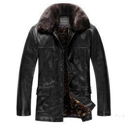 Wholesale Classic Warm Wool Winter Coat - Fall-Winter Jacket Men!High-end Classic Add Wool Warm Winter Black Leather Jacket Men Fashion Leather Jacket Mens Jackets And Coats