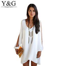 Wholesale Cheap Wholesale China Summer Dresses - Wholesale-Y&G new 2015 casual women clothes chiffon cheap clothes china white women dress summer style vestidos femininos summer dress