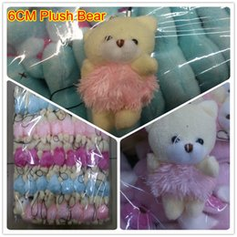 Wholesale Teddy Bears Dresses - Wholesale 40pcs Lot H=6cm Cartoon Teddy Bear With Tassel Dress Plush Pendants Toys Dolls For Keychain Bouquet Phone Bag