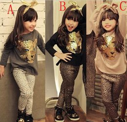 Wholesale Wholesale Childrens Outfits - Christmas Baby Kids Clothes for Girls Clothing Suits Cartoon Toddler Clothing 2016 New Leopard Grain Kids Clothes Childrens Outfits Sets A56