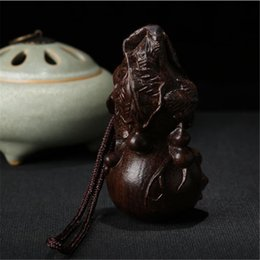 Wholesale Hanging Wood Carvings - Chinese Wood Carving Gourd safeness Decorations Car Pendant for safe luck Ornaments