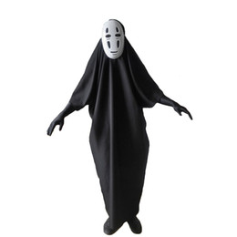 Wholesale Adult Holiday Costumes - Scary No-Face Spirited Away Cosplay Kids Adults Fashion Long Black Costume With Mask for Party,Halloween