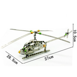 Wholesale Wholesale Model Airplanes - Nut 3D Assembly Toys DIY Simulation Helicopter Model Building Blocks Rotate Airplane Wing Metal Stainless Steel Toy Bricks Funny LX020 B