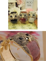 Wholesale Vintage Enamel Brass - wish_team 10 colors Enamel Vintage Owl Cuff Bangle Bracelet Wide Eye Black Owl Bracelet Women's Fashion Jewelry W313