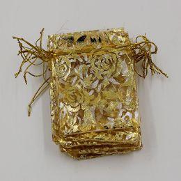 2019 caixas redondas redondas redondas Quente! 100 Pcs Embalagem De Jóias De Ouro Rosas De Organza Bolsa De Presente De Casamento Favor Sacos 7x9 cm / 9x12 cm / 13x18 cm