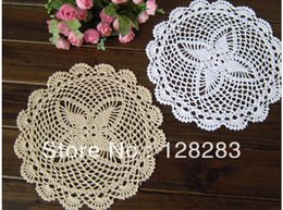 Wholesale Ecru Crochet Doily Mat - Wholesale-Free shipping 28cm Handmade Crochet 100% Cotton Round White  Ecru Cup Coaster mat pad Doily, 15pices lot,