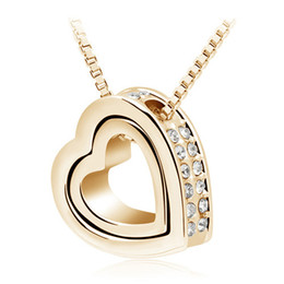 Wholesale Gold Plated Costume Jewellery - New Arrival 18K Gold Jewellery & Silver Plated Crystal Heart Shape Love Fashion Necklaces Colar Costume Jewelry for Women 2891
