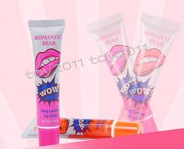 Wholesale Marine Collagen - 24pcs lots Lip Gloss Peel-off Lasts For 24h No Stain Marine Collagen Lipstick Balm Plant Romantic Bear 6 Colors Makeup Moisturizing
