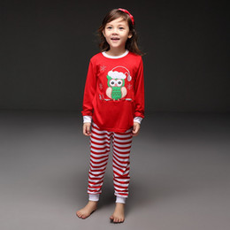Wholesale Pettigirl Retail Drop Shipping Girls Pajamas Suits Christmas Gift Red Shirts Striped Pants Clothing Set Children Wear CS41111