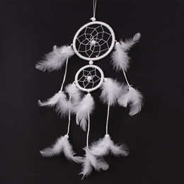 Wholesale Wind Netting - White Feather Dreamcatcher Handmade Indian Dream Catcher Net For Outdoor Car Wind Chime Pendant New Arrival 7 5wt B