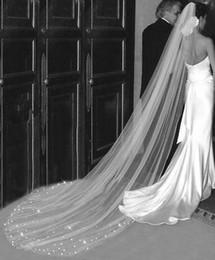 Wholesale Diamond White Wedding Veils - hot sell Rhinestones Veil One Tier Cathedral Length Bridal Veils Ivory Diamond White Wedding Veil Bride Accessories